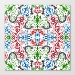 Funny bugs going for a beautiful choreography pattern design Canvas Print