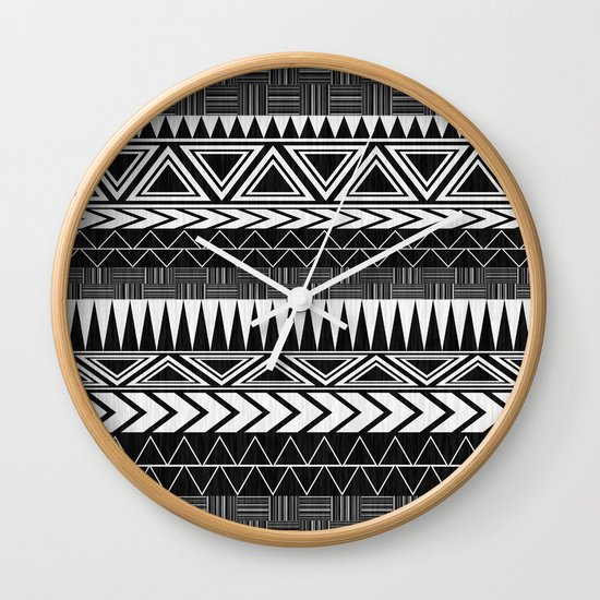 Tribal Monochrome. Wall Clock