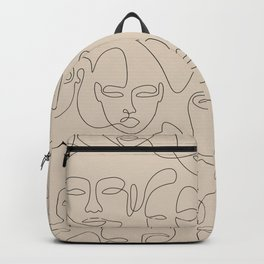 Beige Face Thread Backpack