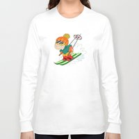 skiing Long Sleeve T-shirts featuring Winter Sports: Skiing by Alapapaju