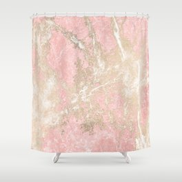 Modern coral pink white gold abstract marble Shower Curtain
