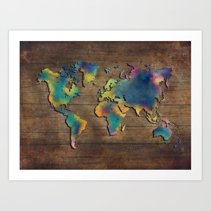 World Map Wood Art Print By Jbjart Society6
