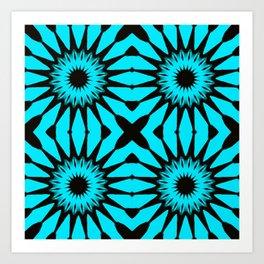 blue & Black Pinwheel Flowers Art Print