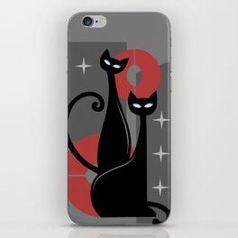 Modern Meows Atomic Age Black Kitschy Cats iPhone Skin