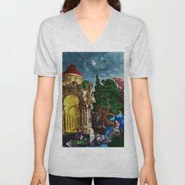 """""""Ruins of the Temple of Diana"""" Landscape Painting by Jeanpaul Ferro Unisex V-Neck"""
