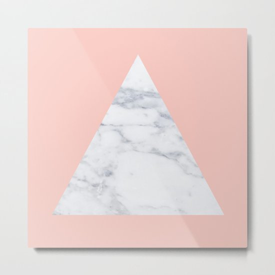 Blush marble triangle Metal Print