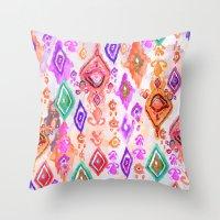 bali Throw Pillows featuring Bali Ikat  by Nikkistrange