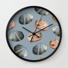 seashell clams grey Background Wall Clock