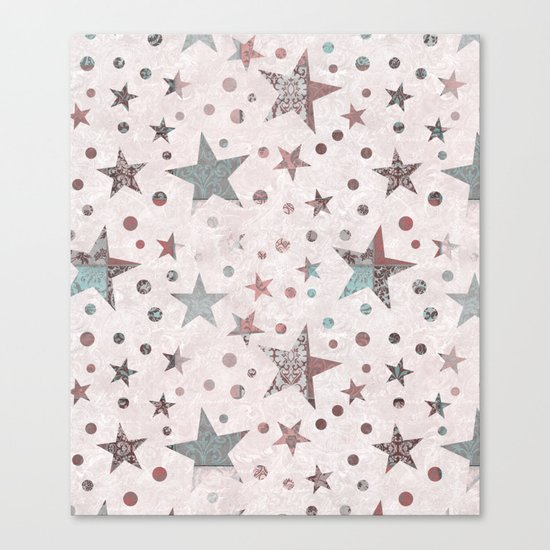 Pink Patchwork Stars Canvas Print