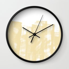 Rolled Ink Texture in Soft Yellow and White Wall Clock