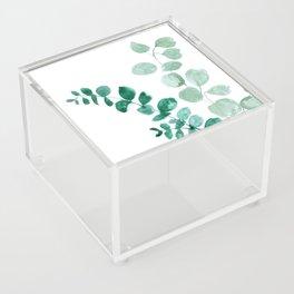 Watercolor eucalyptus leaves Acrylic Box