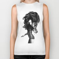 feathers Biker Tanks featuring Bear #3 by Jenny Liz Rome