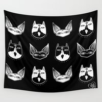 kittens Wall Tapestries featuring Witchy Kittens by lOll3