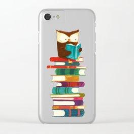 Owl Reading Rainbow Clear iPhone Case