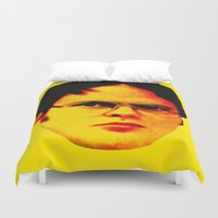 "dwight Duvet Covers featuring Dwight Schrute ""FACT"" by Silvio Ledbetter"