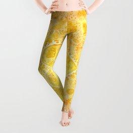 Yellow & Orange Lace Hearts Leggings
