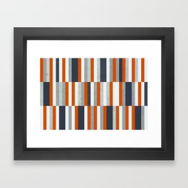 Orange, Navy Blue, Gray / Grey Stripes, Abstract Nautical Maritime Design by Framed Art Print