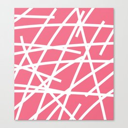 Abstract Criss Cross White Strokes on Pink Background Canvas Print