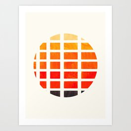 Watercolor Colorful Orange Minimalist Mid Century Modern Square Matrix Geometric Pattern Round Circl Art Print