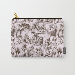 Alice in Wonderland | Toile de Jouy | Brown and Pink Carry-All Pouch