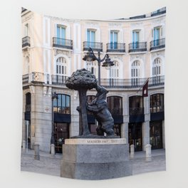 Bear and the Strawberry Tree in Puerta del Sol square, Madrid Wall Tapestry