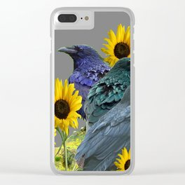 THREE CROWS/RAVENS  YELLOW SUNFLOWERS ON GREY ART Clear iPhone Case