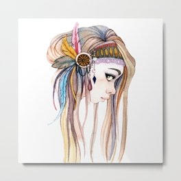 BOHO GIRL Draw Metal Print