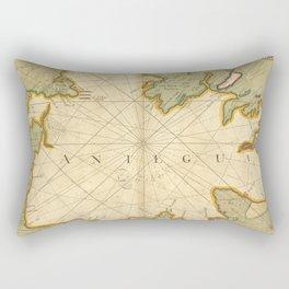 Vintage Map of Antigua (1702) Rectangular Pillow