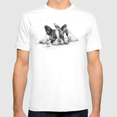 Frenchie and the Birds Mens Fitted Tee MEDIUM White