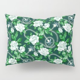 Midnight Sparkles - Gardenias and Fireflies in Emerald Green Pillow Sham