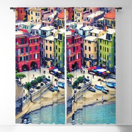 Italy Liguria Cinque Terre Seaside Colorful Houses Blackout Curtain