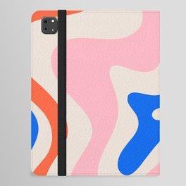 Retro Liquid Swirl Abstract Pattern Square Pink, Orange, and Royal Blue iPad Folio Case