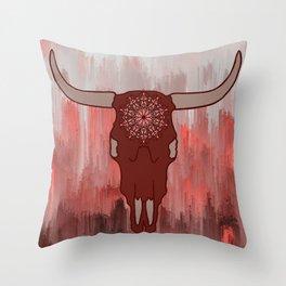 Red Mandala Steer Skull Throw Pillow