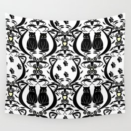 Midnight Cat Does Damask  Wall Tapestry