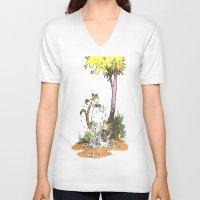 hobbes V-neck T-shirts featuring Calvin n hobbes by TEUFEL_STRITT666