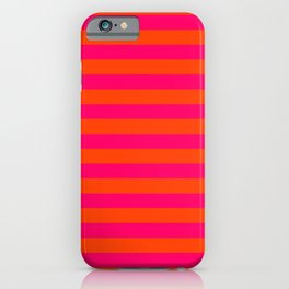 Super Bright Neon Pink and Orange Horizontal Beach Hut Stripes iPhone Case