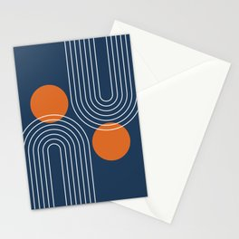 Mid Century Modern Geometric 83 in Navy Blue and Burnt Orange (Rainbow and Sun Abstraction) Stationery Cards