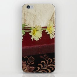 Daisy Flowers on Red Book Library Art A223 iPhone Skin