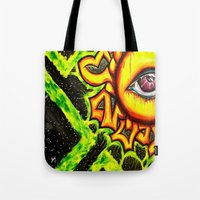 psychadelic Tote Bags featuring Psychadelic sun by Annabomb