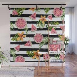 Watermelon black stripes Wall Mural