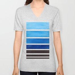 Prussian Blue Minimalist Watercolor Mid Century Staggered Stripes Rothko Color Block Geometric Art Unisex V-Neck