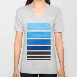 Prussian Blue Minimalist Watercolor Mid Century Staggered Stripes Rothko Color Block Geometric Art Unisex V-Neck