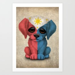 Cute Puppy Dog with flag of The Philippines Art Print