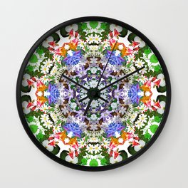 Spring wildflower mandala 2 Wall Clock