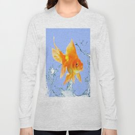 DECORATIVE  GOLDFISH SPLASHING  WATER ART Long Sleeve T-shirt