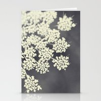flora Stationery Cards featuring Black and White Queen Annes Lace by Erin Johnson