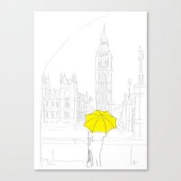 Yellow Umbrella Girl in London Canvas Print