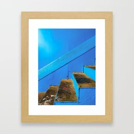 blue and brown old wood stairs with blue wall background Framed Art Print