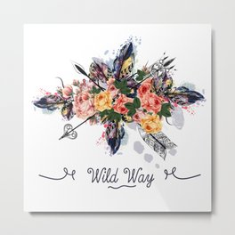 Art boho design with arrows, feathers and flowers. Wild way Metal Print