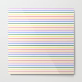 Split Rainbow Mattress Ticking Narrow Stripes Pattern Metal Print